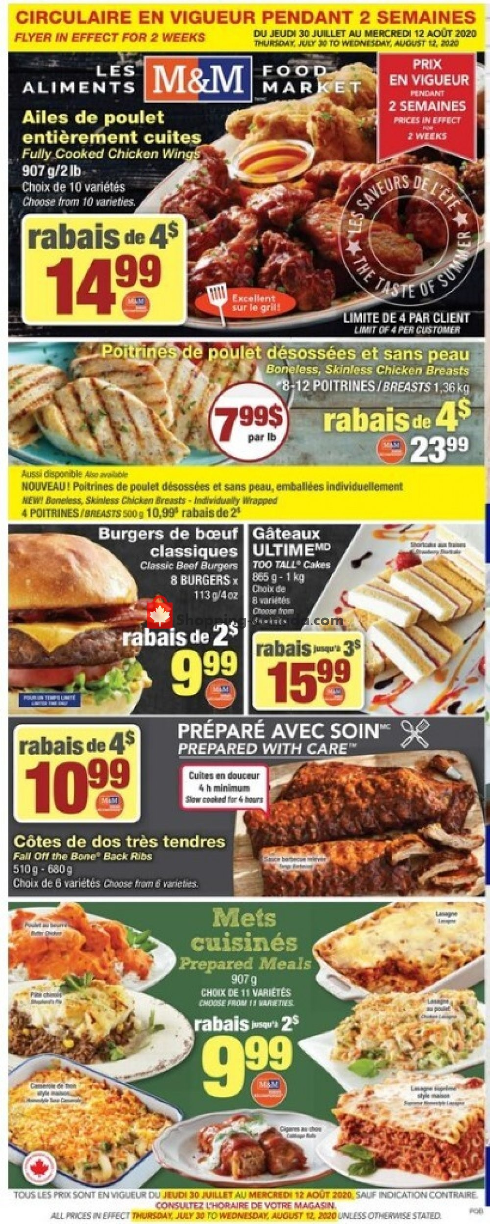 Flyer M&M Food Market Canada - from Thursday July 30, 2020 to Wednesday August 12, 2020