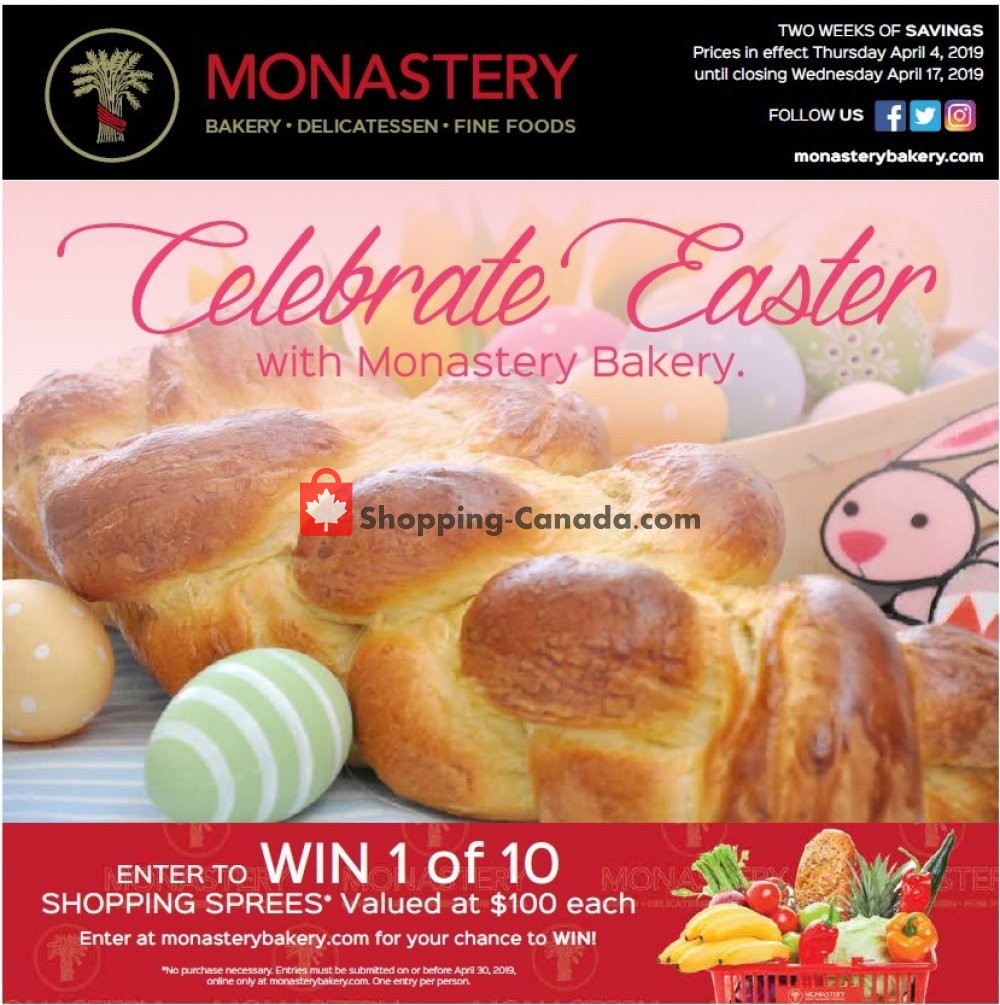 Flyer Monastery Bakery Canada - from Thursday April 4, 2019 to Wednesday April 17, 2019
