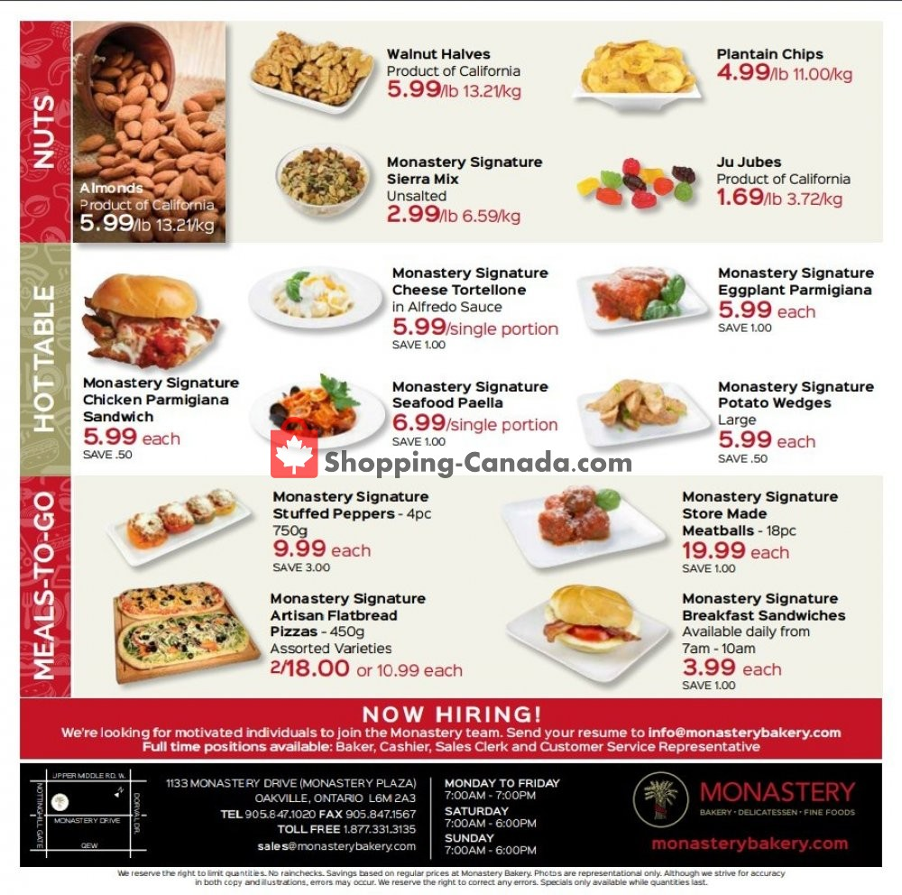 Flyer Monastery Bakery Canada - from Thursday October 17, 2019 to Wednesday October 30, 2019