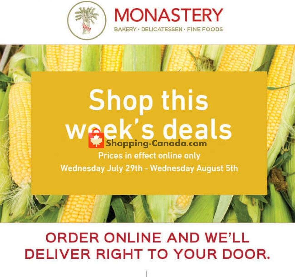 Flyer Monastery Bakery Canada - from Wednesday July 29, 2020 to Wednesday August 5, 2020