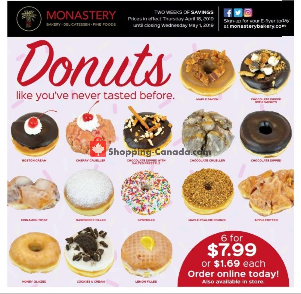 Flyer Monastery Bakery Canada - from Thursday April 18, 2019 to Wednesday May 1, 2019