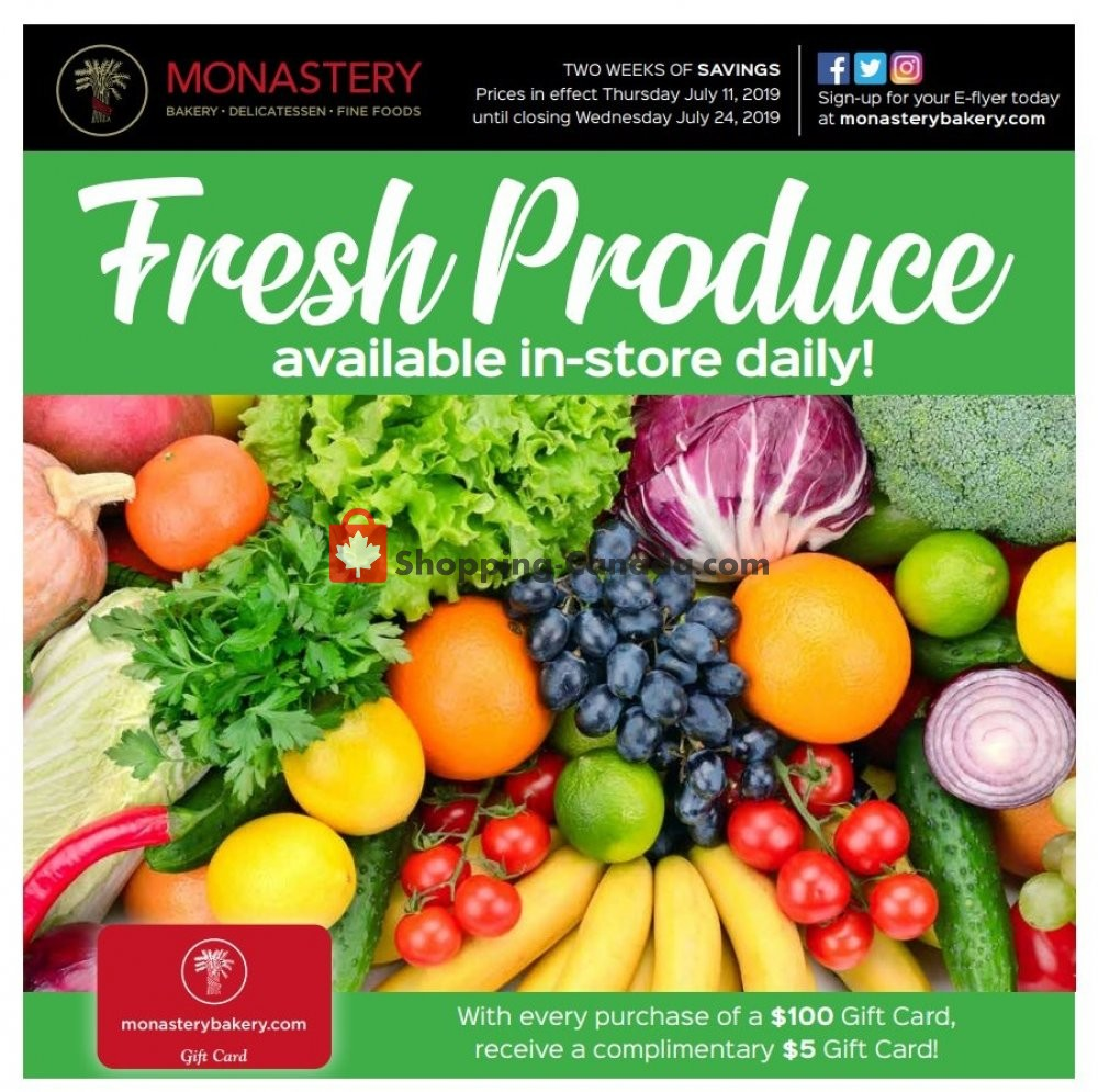Flyer Monastery Bakery Canada - from Thursday July 11, 2019 to Wednesday July 24, 2019