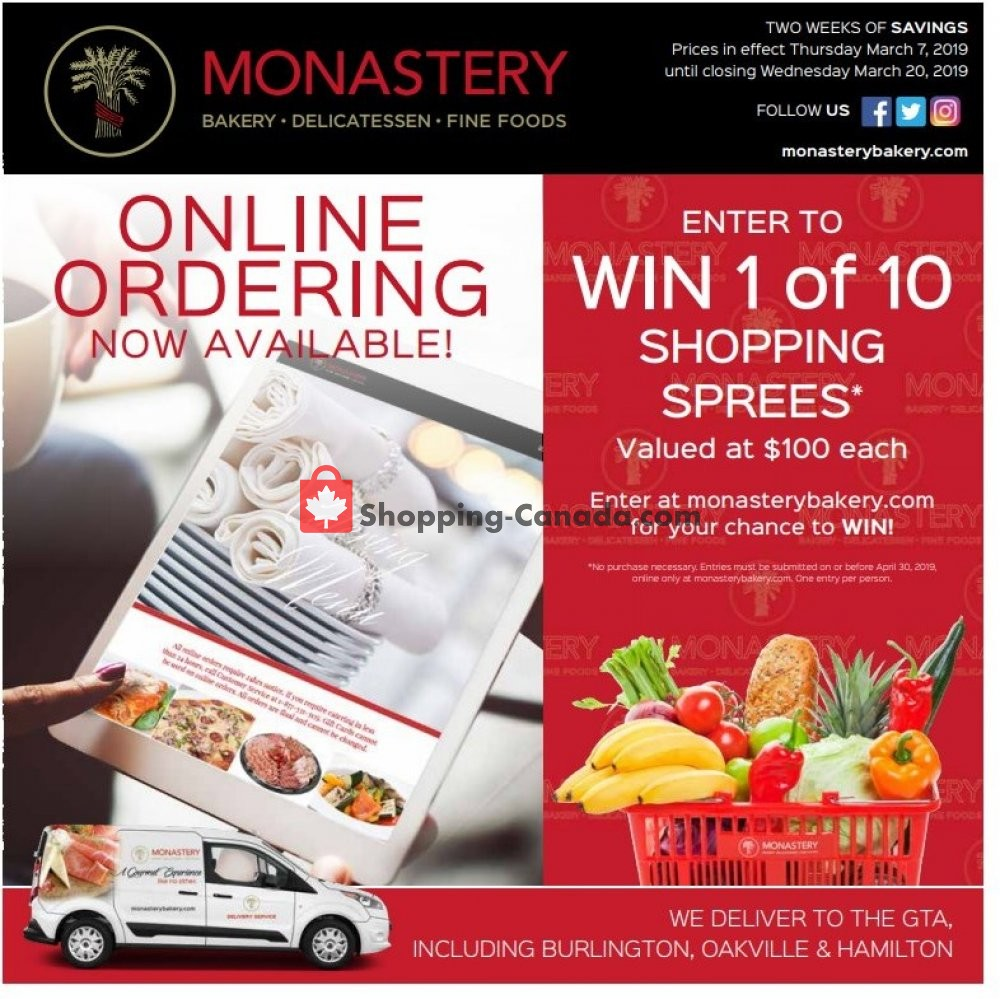 Flyer Monastery Bakery Canada - from Thursday March 7, 2019 to Wednesday March 20, 2019