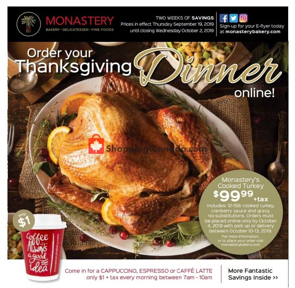 Flyer Monastery Bakery Canada - from Thursday September 19, 2019 to Wednesday October 2, 2019