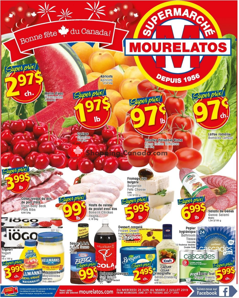 Flyer Mourelatos Canada - from Wednesday June 26, 2019 to Tuesday July 2, 2019