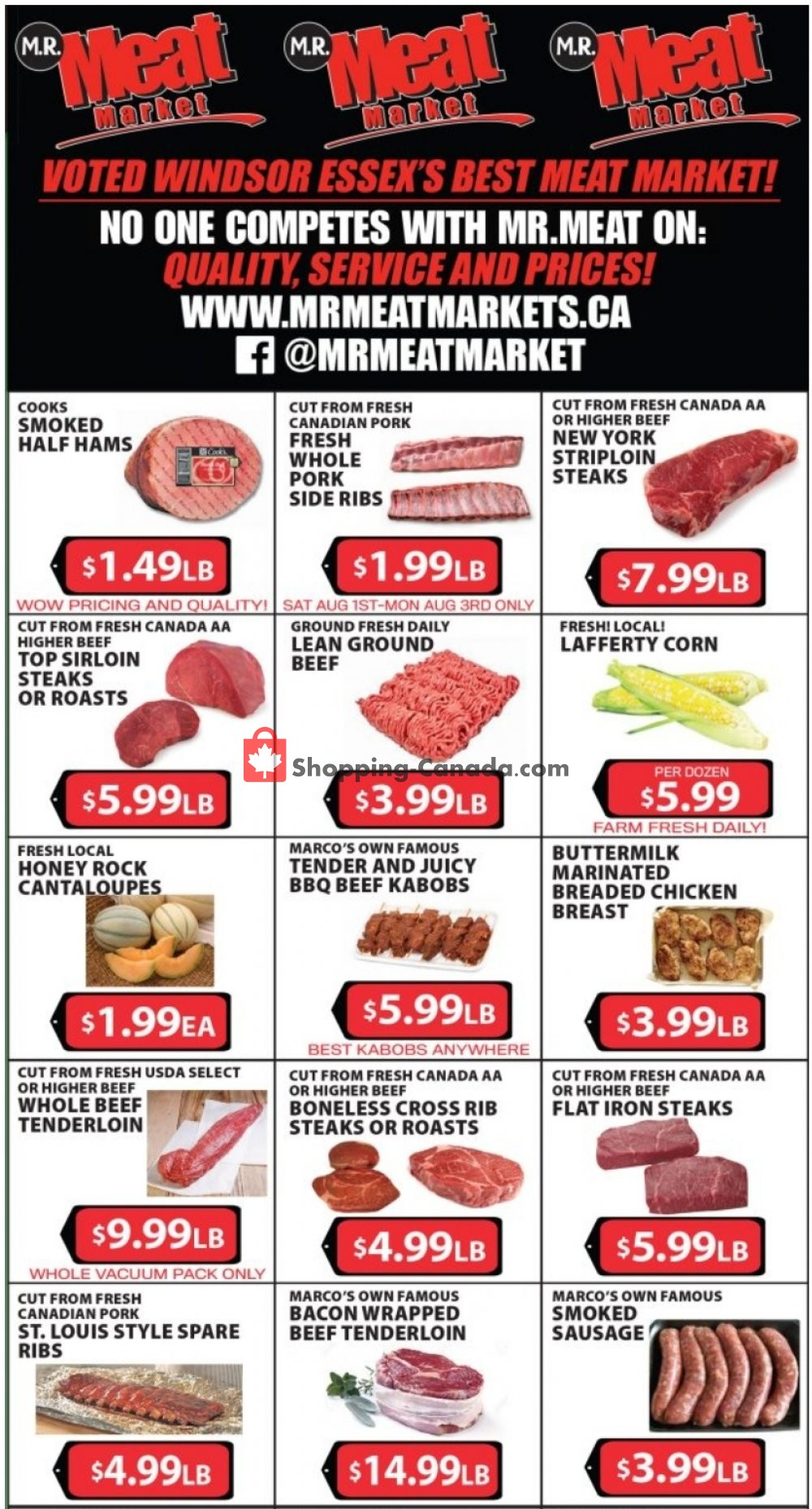 Flyer M.R. Meat Market Canada - from Saturday August 1, 2020 to Saturday August 8, 2020