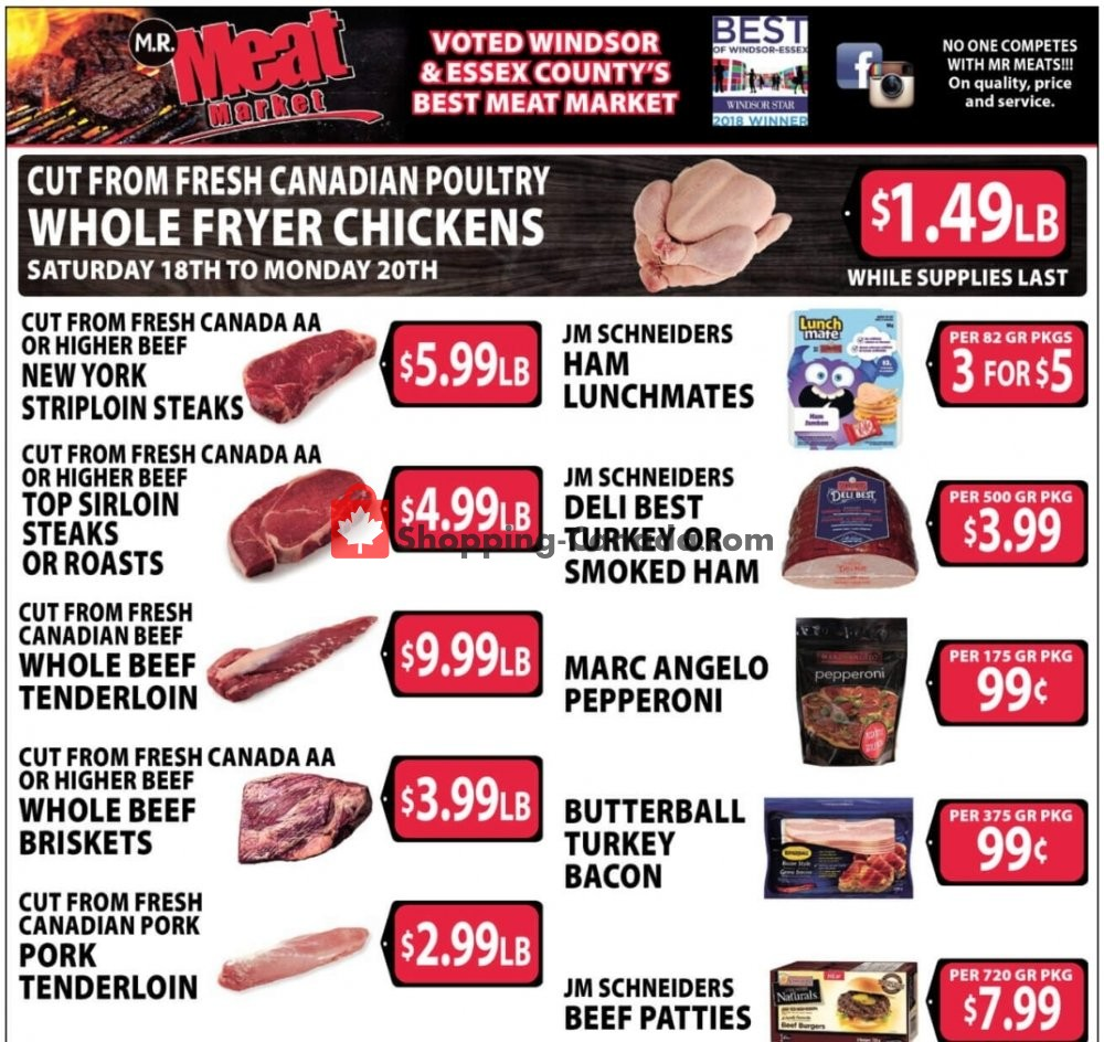 Flyer M.R. Meat Market Canada - from Saturday April 18, 2020 to Saturday April 25, 2020