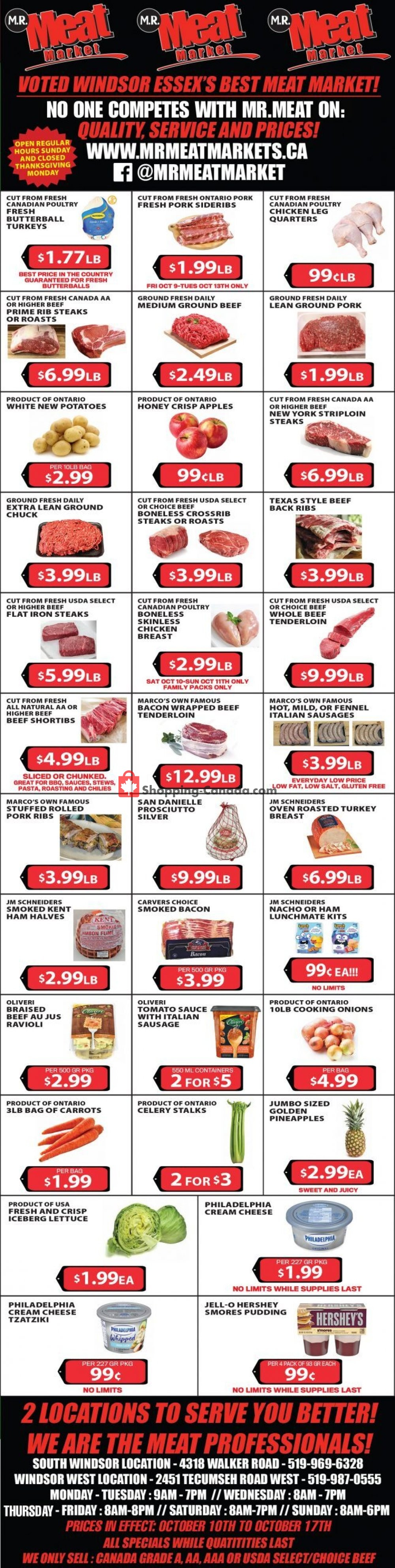 Flyer M.R. Meat Market Canada - from Saturday October 10, 2020 to Saturday October 17, 2020