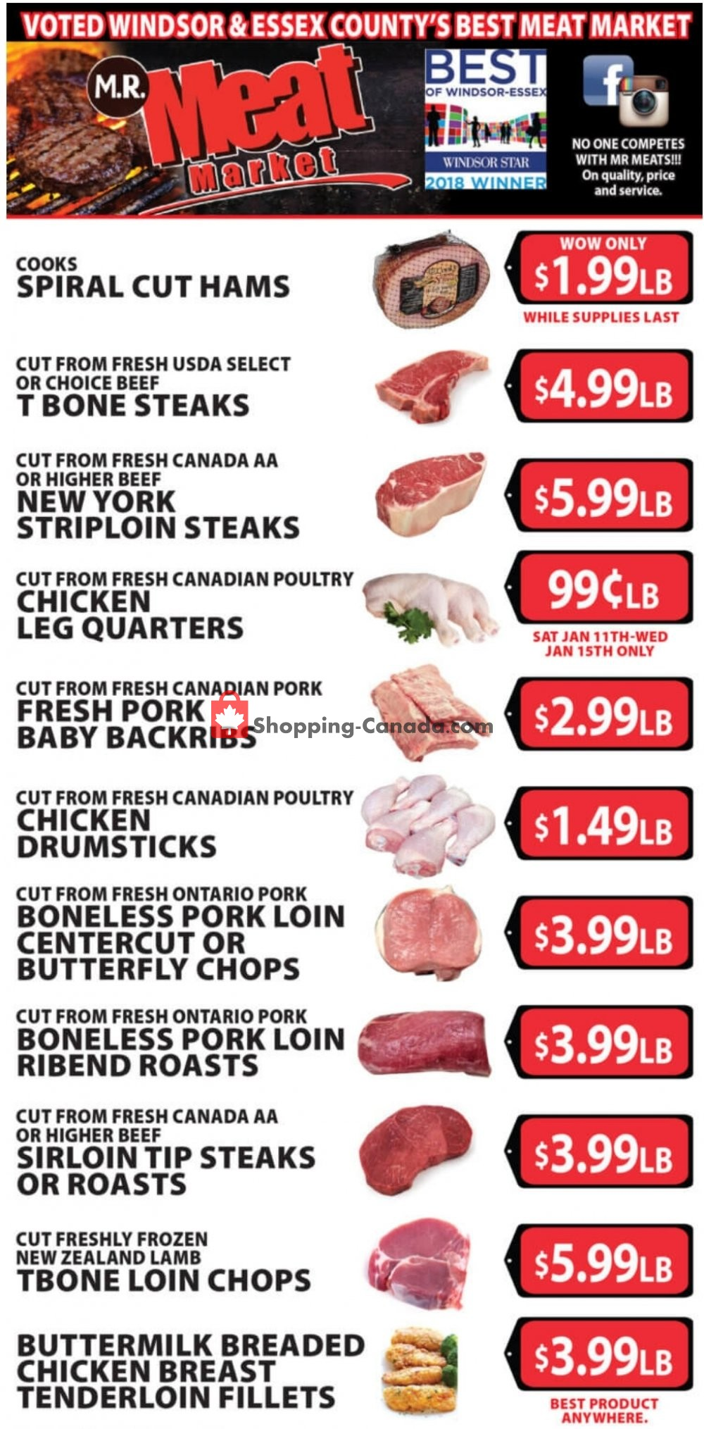Flyer M.R. Meat Market Canada - from Saturday January 11, 2020 to Saturday January 18, 2020