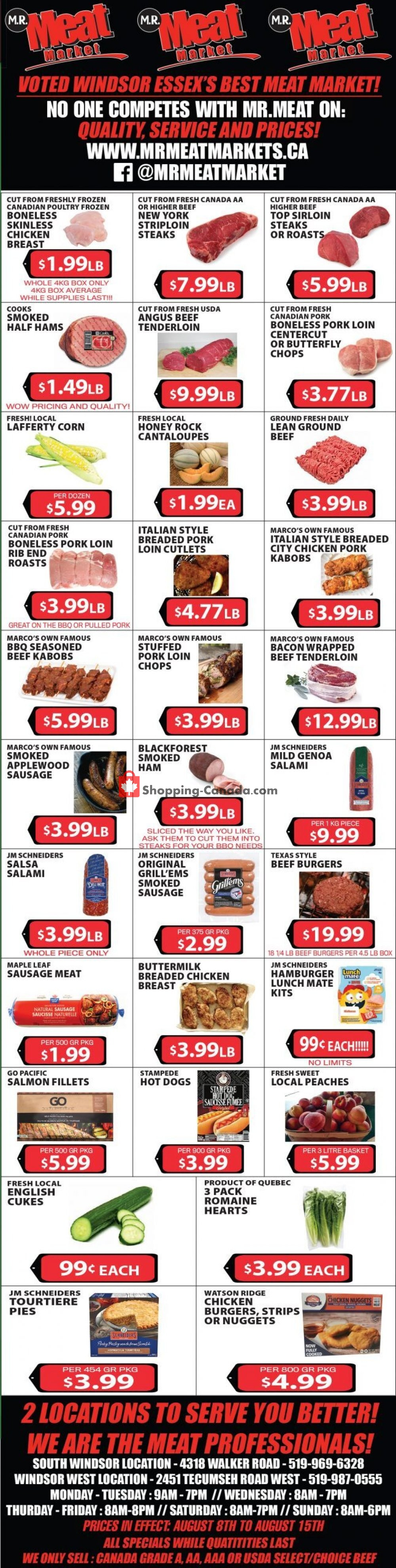 Flyer M.R. Meat Market Canada - from Saturday August 8, 2020 to Saturday August 15, 2020