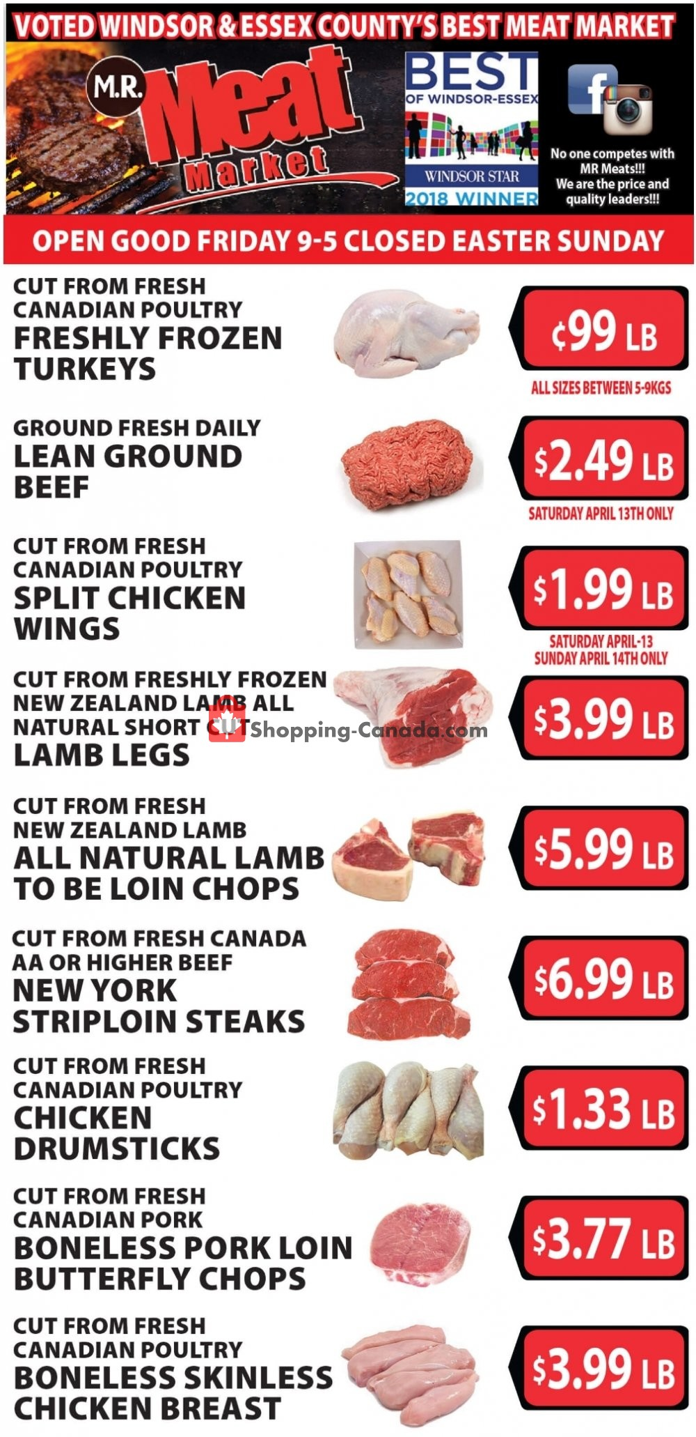 Flyer M.R. Meat Market Canada - from Saturday April 13, 2019 to Saturday April 20, 2019