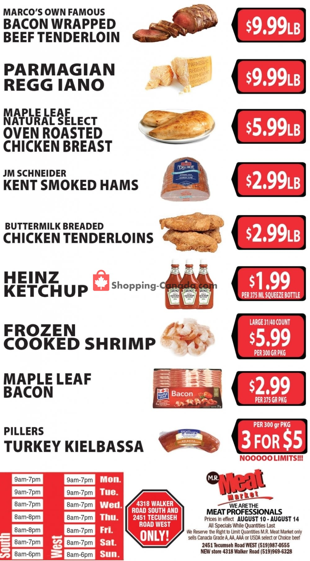 Flyer M.R. Meat Market Canada - from Saturday August 10, 2019 to Wednesday August 14, 2019