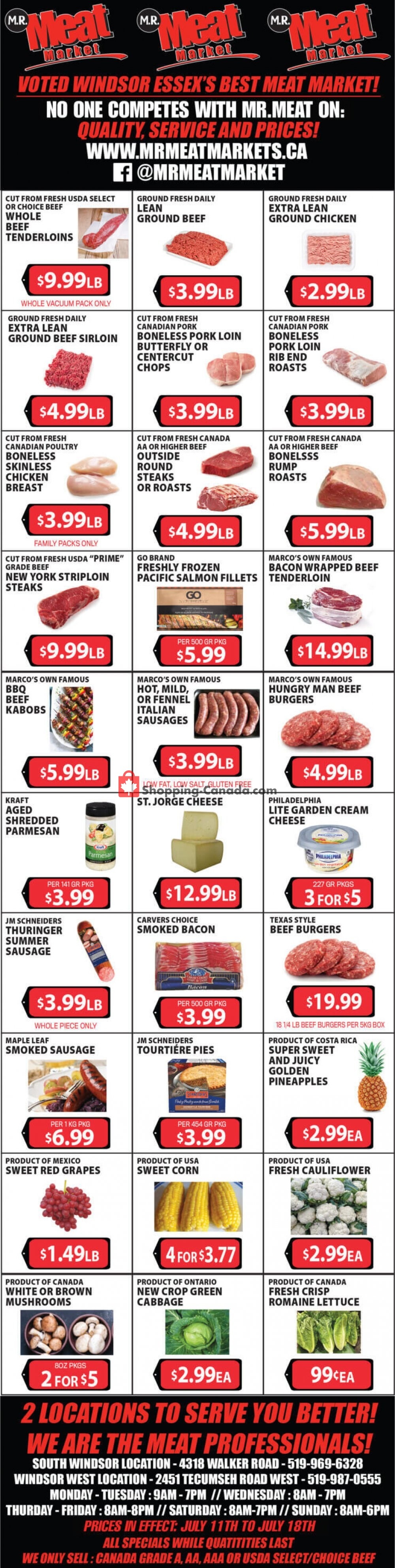 Flyer M.R. Meat Market Canada - from Saturday July 11, 2020 to Saturday July 18, 2020