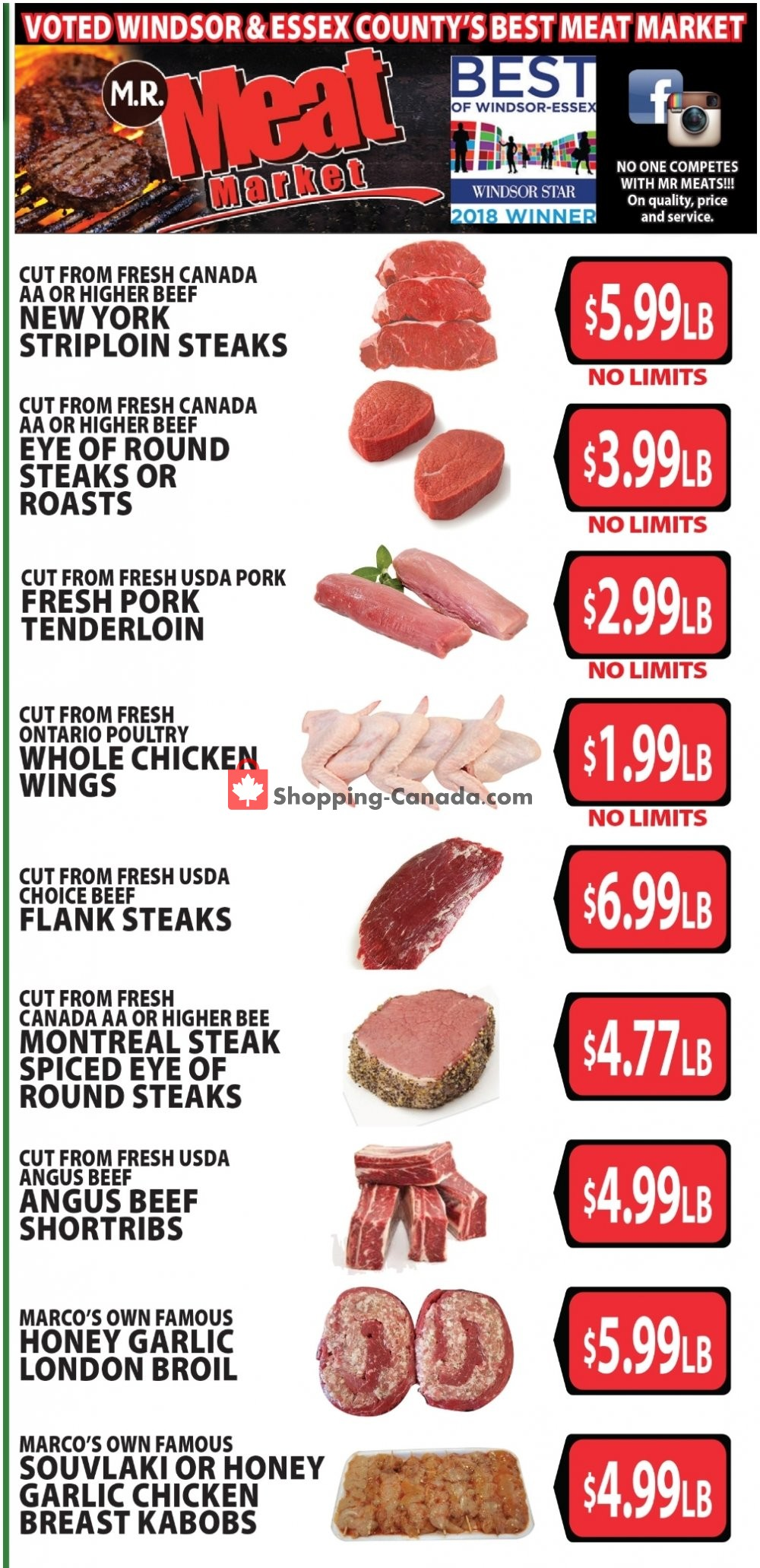 Flyer M.R. Meat Market Canada - from Saturday July 20, 2019 to Saturday July 27, 2019