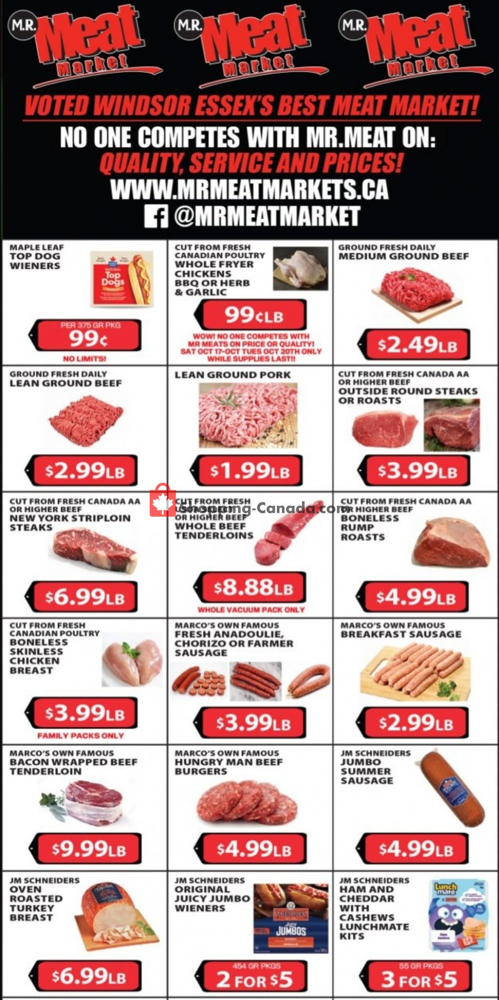 Flyer M.R. Meat Market Canada - from Saturday October 17, 2020 to Saturday October 24, 2020
