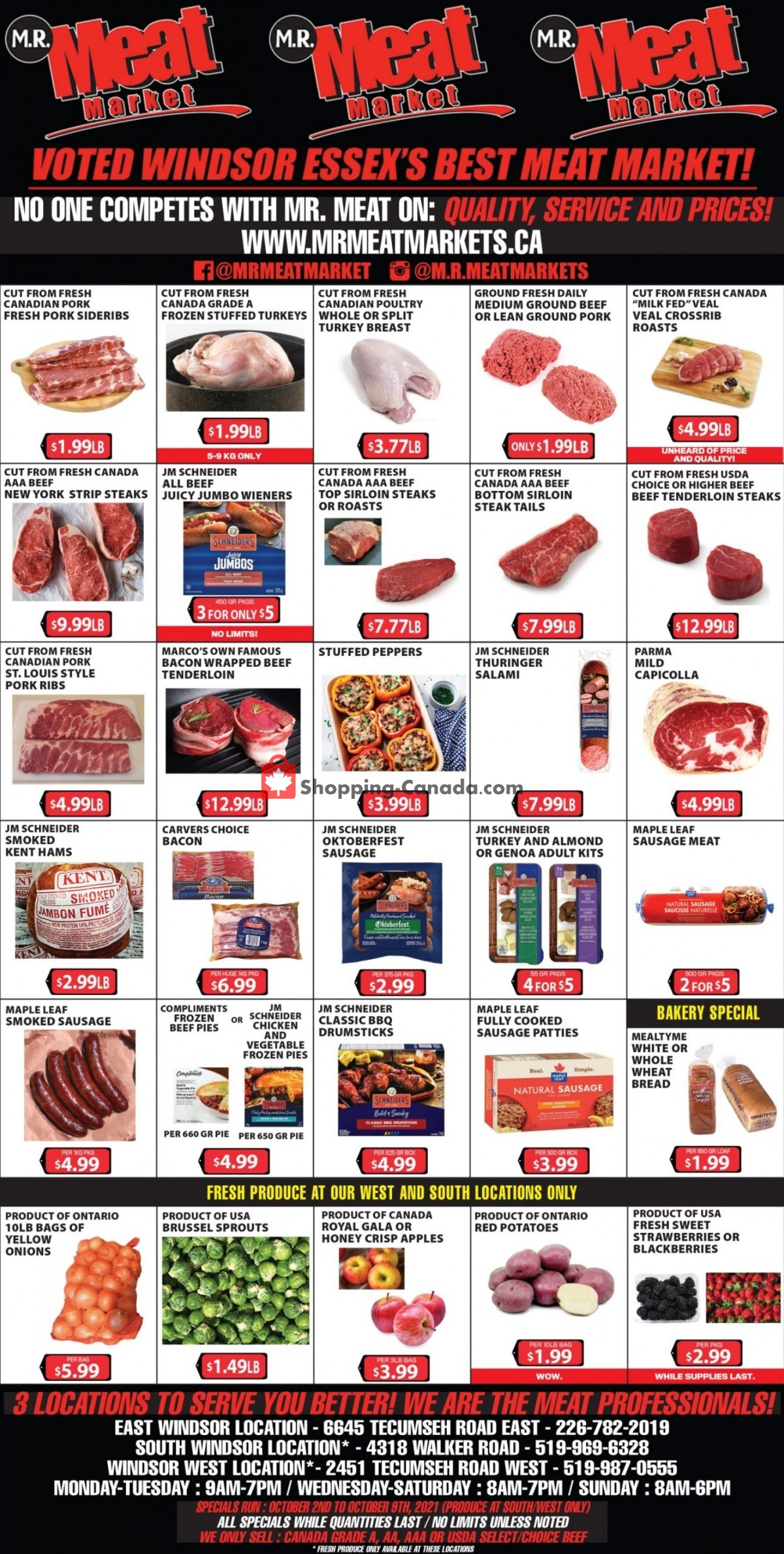 Flyer M.R. Meat Market Canada - from Saturday October 2, 2021 to Saturday October 9, 2021