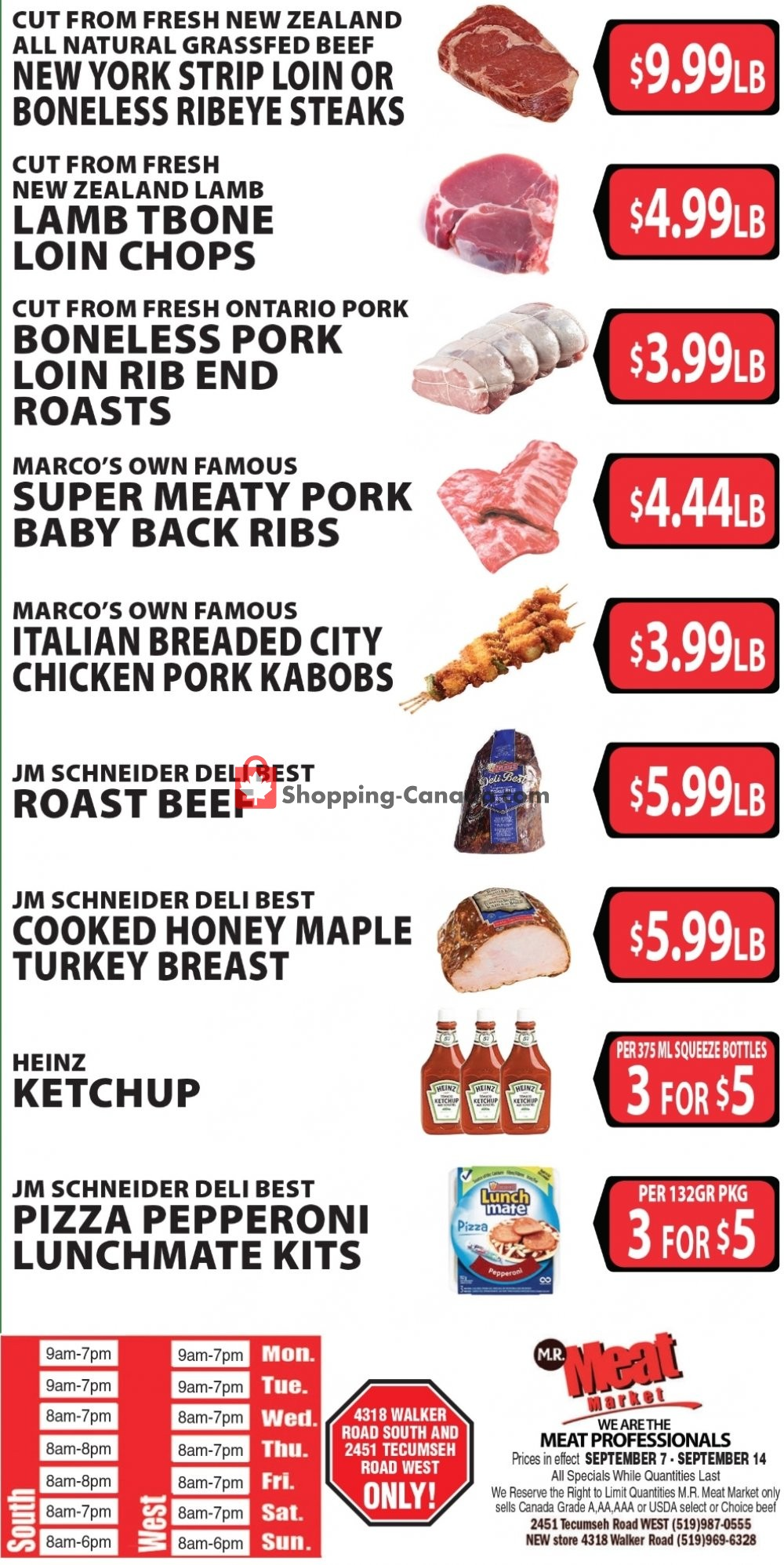 Flyer M.R. Meat Market Canada - from Saturday September 7, 2019 to Saturday September 14, 2019