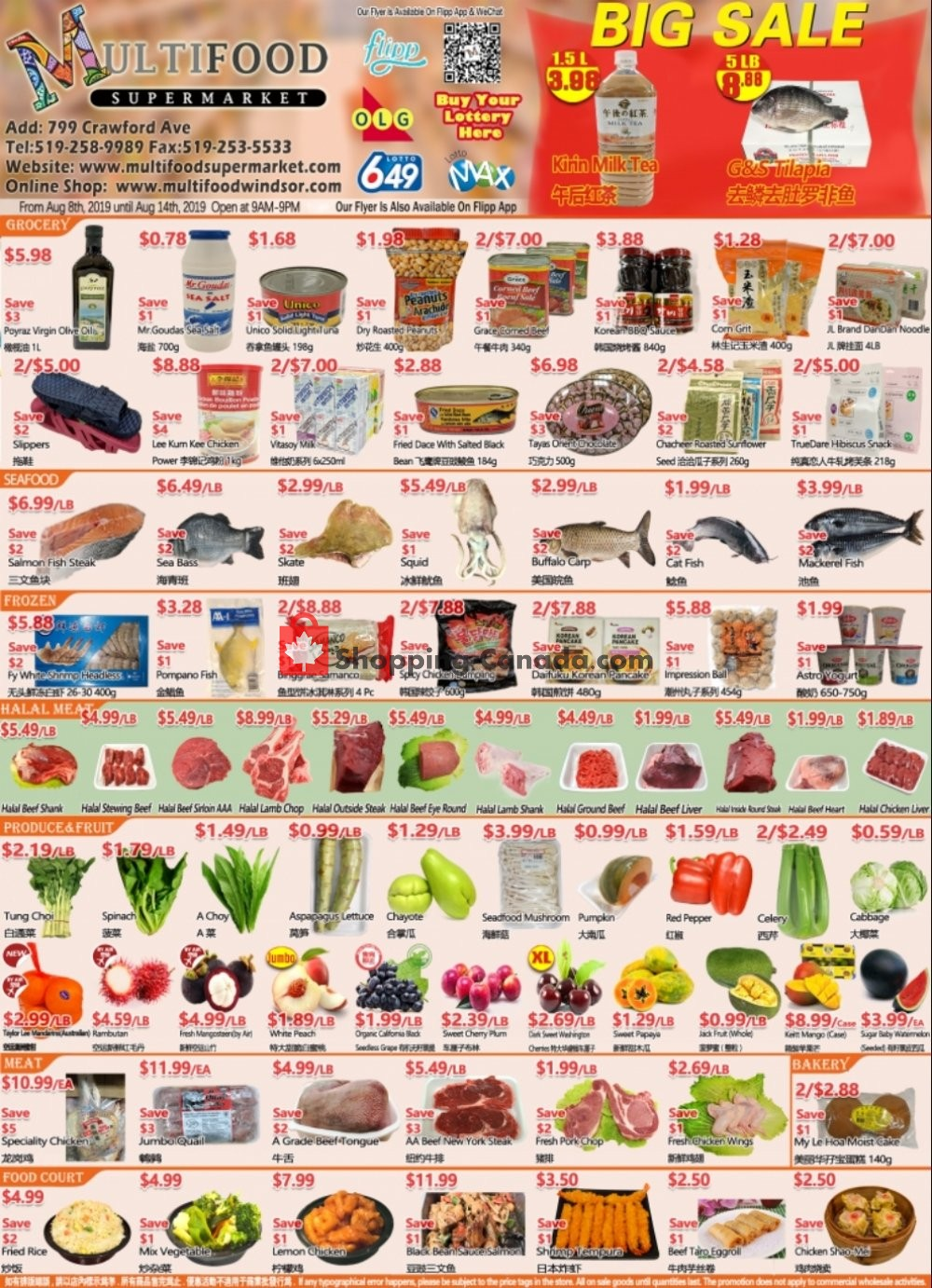 Flyer MultiFood Supermarket Canada - from Thursday August 8, 2019 to Wednesday August 14, 2019