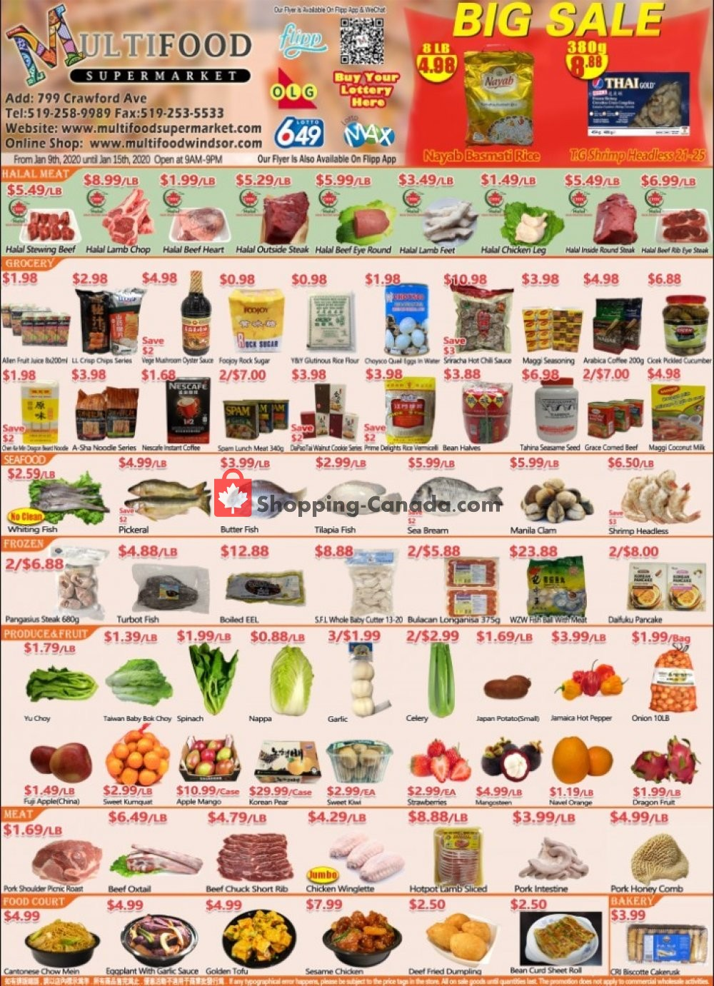 Flyer MultiFood Supermarket Canada - from Thursday January 9, 2020 to Wednesday January 15, 2020