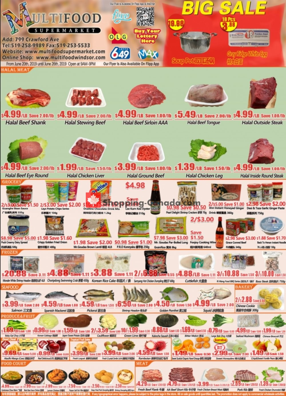 Flyer MultiFood Supermarket Canada - from Thursday June 20, 2019 to Wednesday June 26, 2019