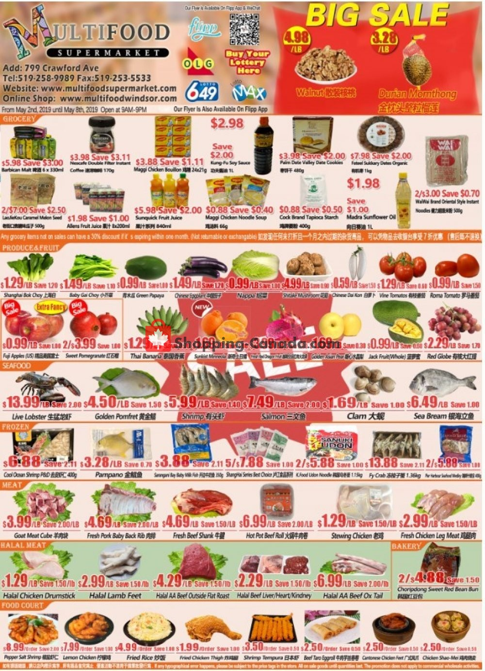 Flyer MultiFood Supermarket Canada - from Thursday May 2, 2019 to Wednesday May 8, 2019