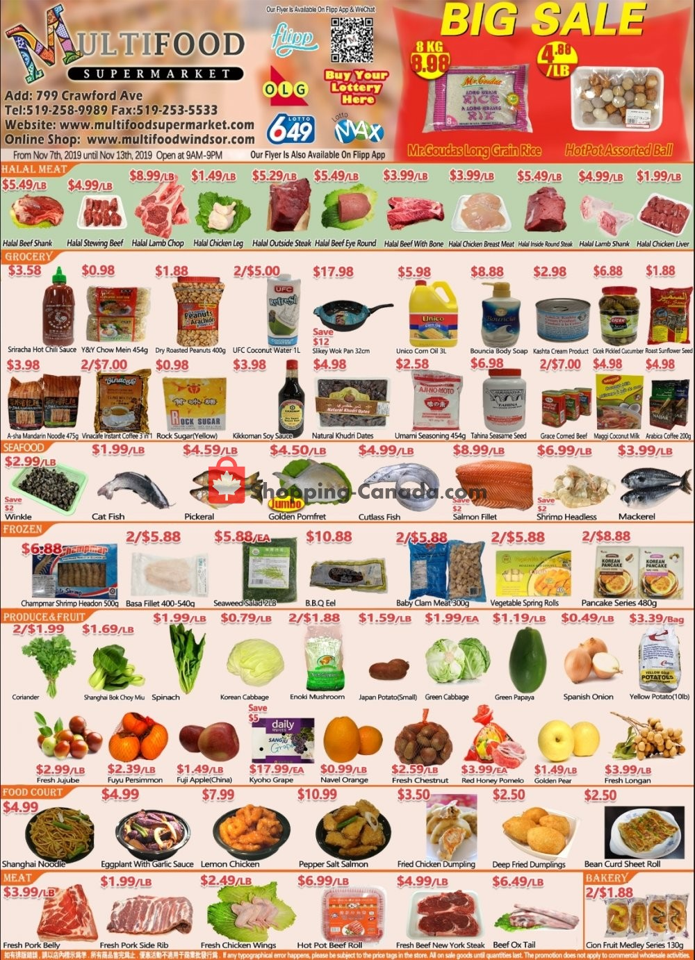 Flyer MultiFood Supermarket Canada - from Thursday November 7, 2019 to Wednesday November 13, 2019