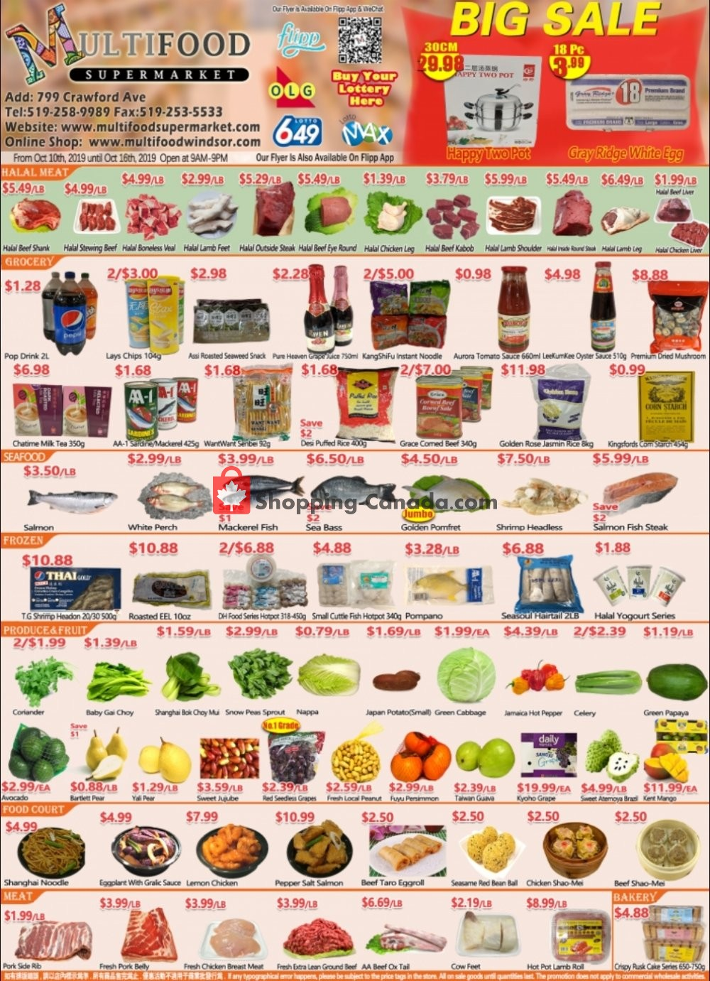 Flyer MultiFood Supermarket Canada - from Thursday October 10, 2019 to Wednesday October 16, 2019