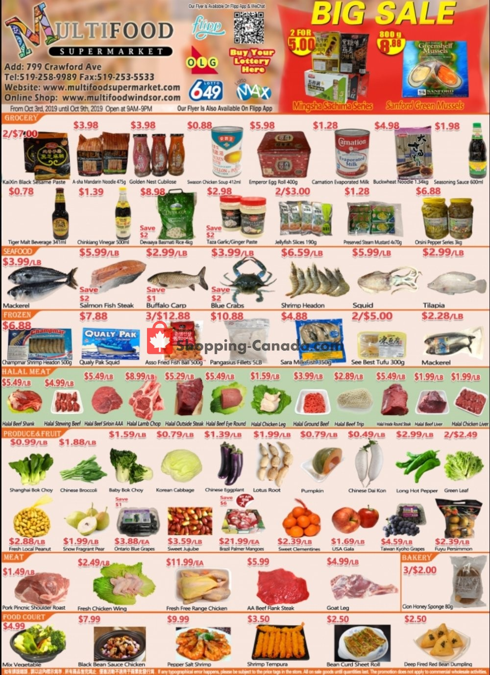 Flyer MultiFood Supermarket Canada - from Wednesday October 2, 2019 to Wednesday October 9, 2019