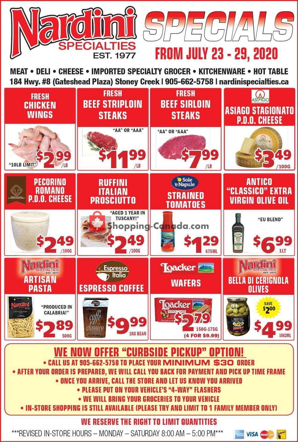 Flyer Nardini Specialties Canada - from Thursday July 23, 2020 to Wednesday July 29, 2020
