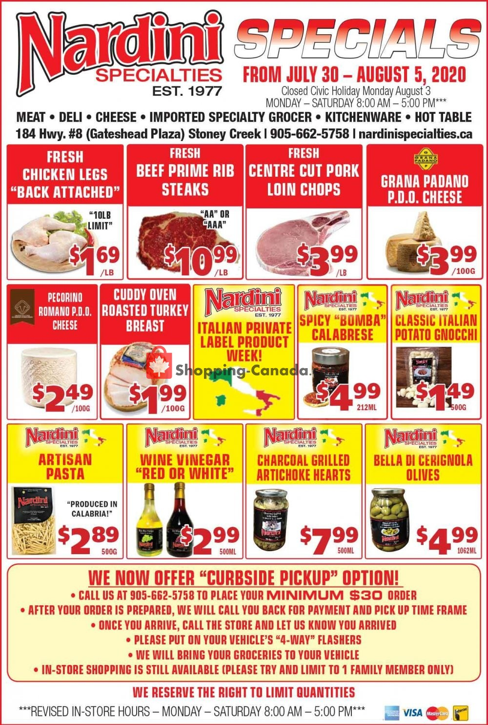 Flyer Nardini Specialties Canada - from Thursday July 30, 2020 to Wednesday August 5, 2020
