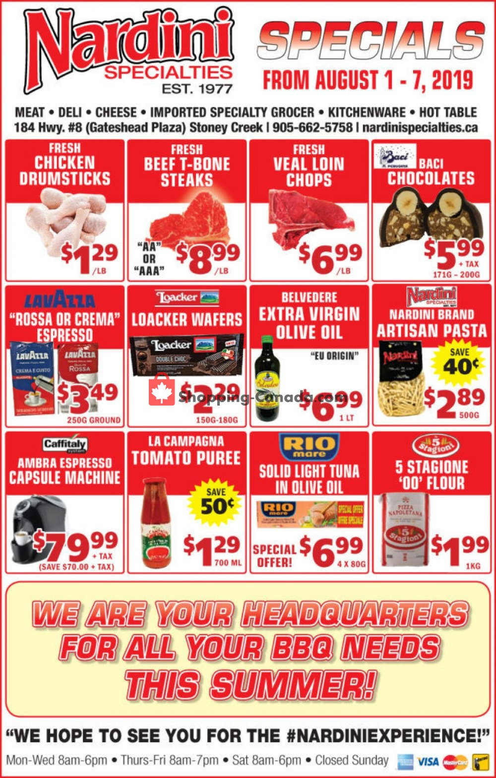Flyer Nardini Specialties Canada - from Thursday August 1, 2019 to Wednesday August 7, 2019