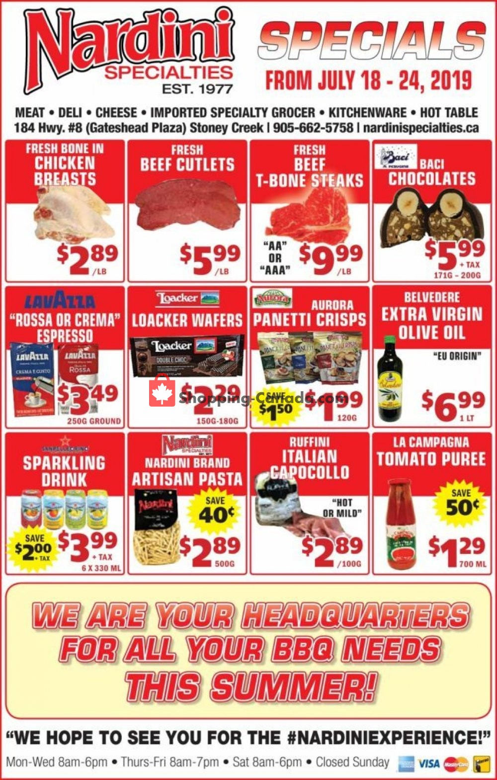 Flyer Nardini Specialties Canada - from Thursday July 18, 2019 to Wednesday July 24, 2019