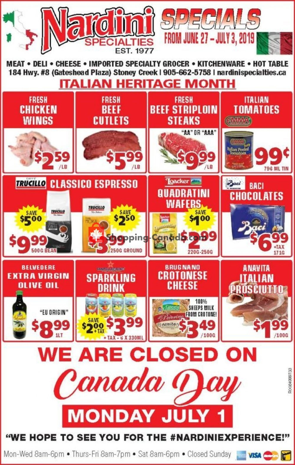 Flyer Nardini Specialties Canada - from Thursday June 27, 2019 to Wednesday July 3, 2019