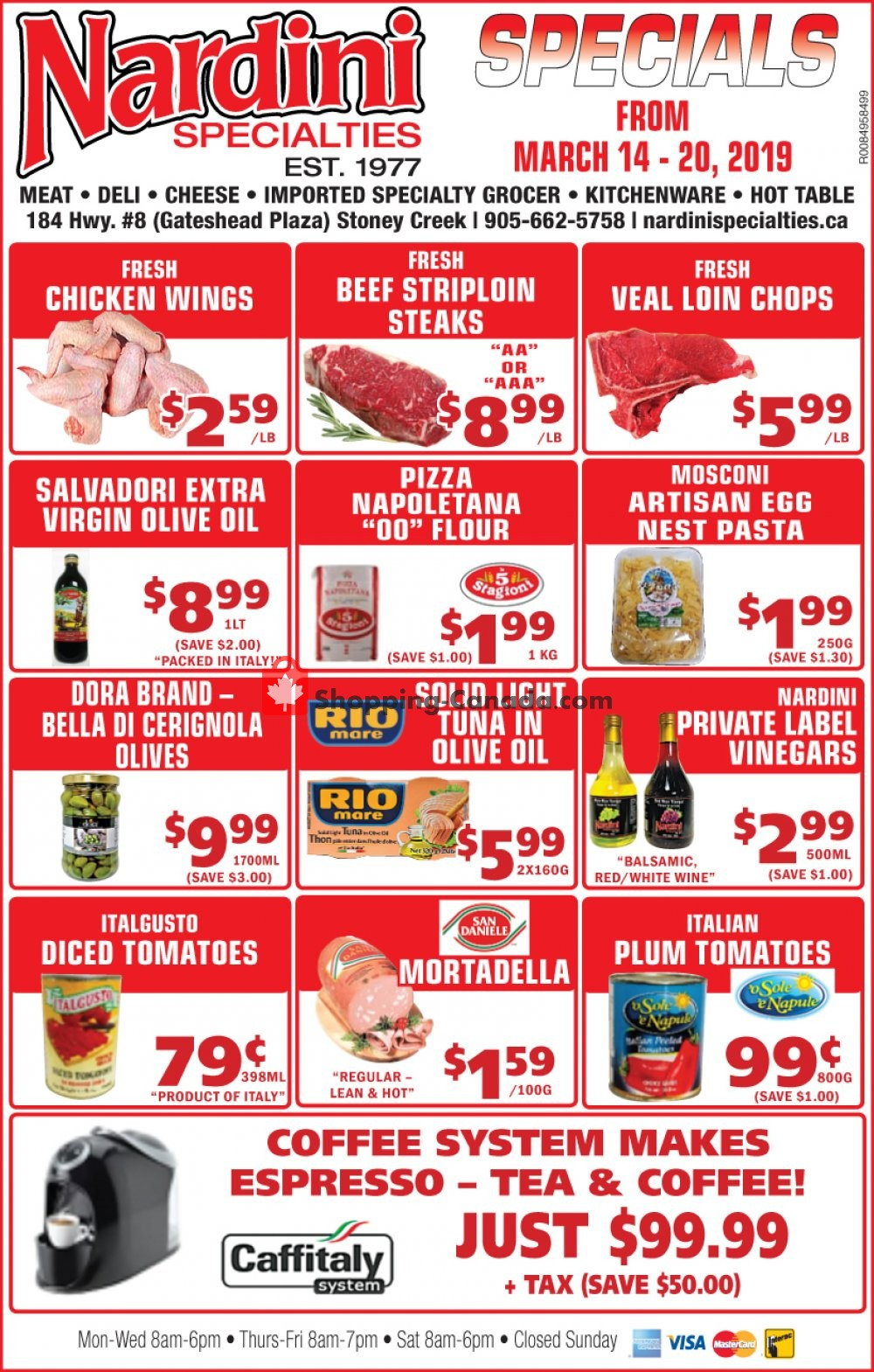 Flyer Nardini Specialties Canada - from Thursday March 14, 2019 to Wednesday March 20, 2019
