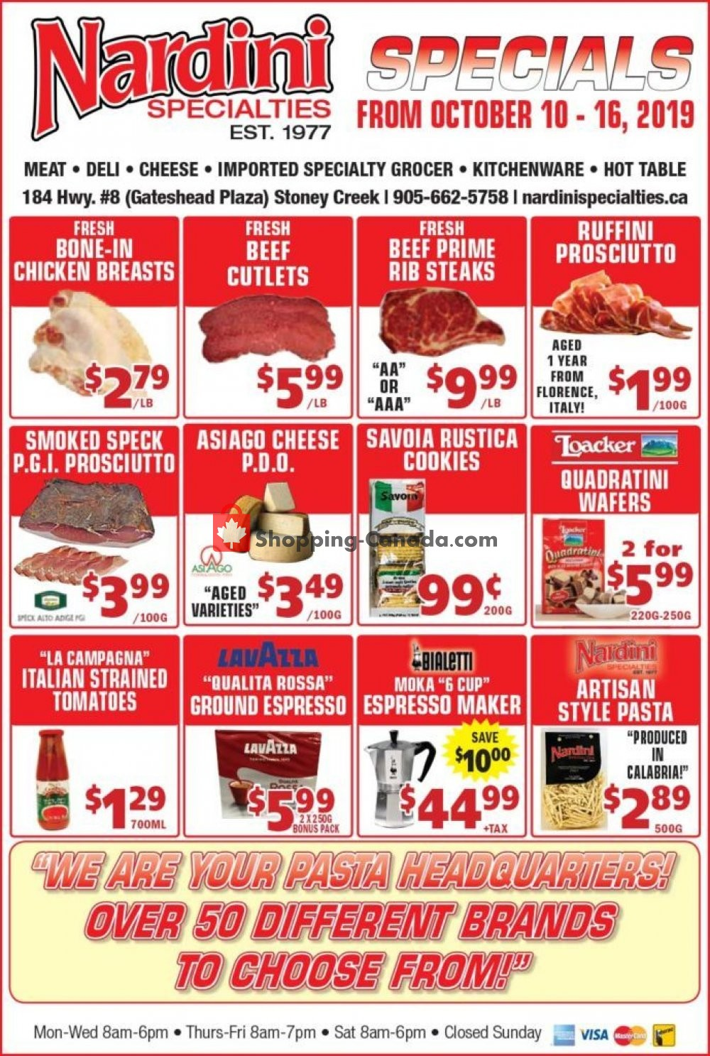 Flyer Nardini Specialties Canada - from Thursday October 10, 2019 to Wednesday October 16, 2019