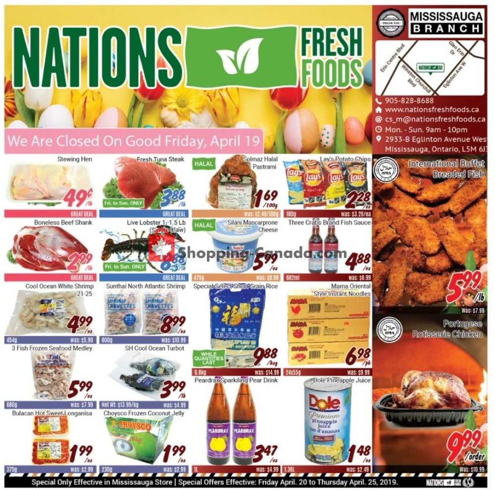 Flyer Nations Fresh Foods Canada - from Friday April 19, 2019 to Thursday April 25, 2019