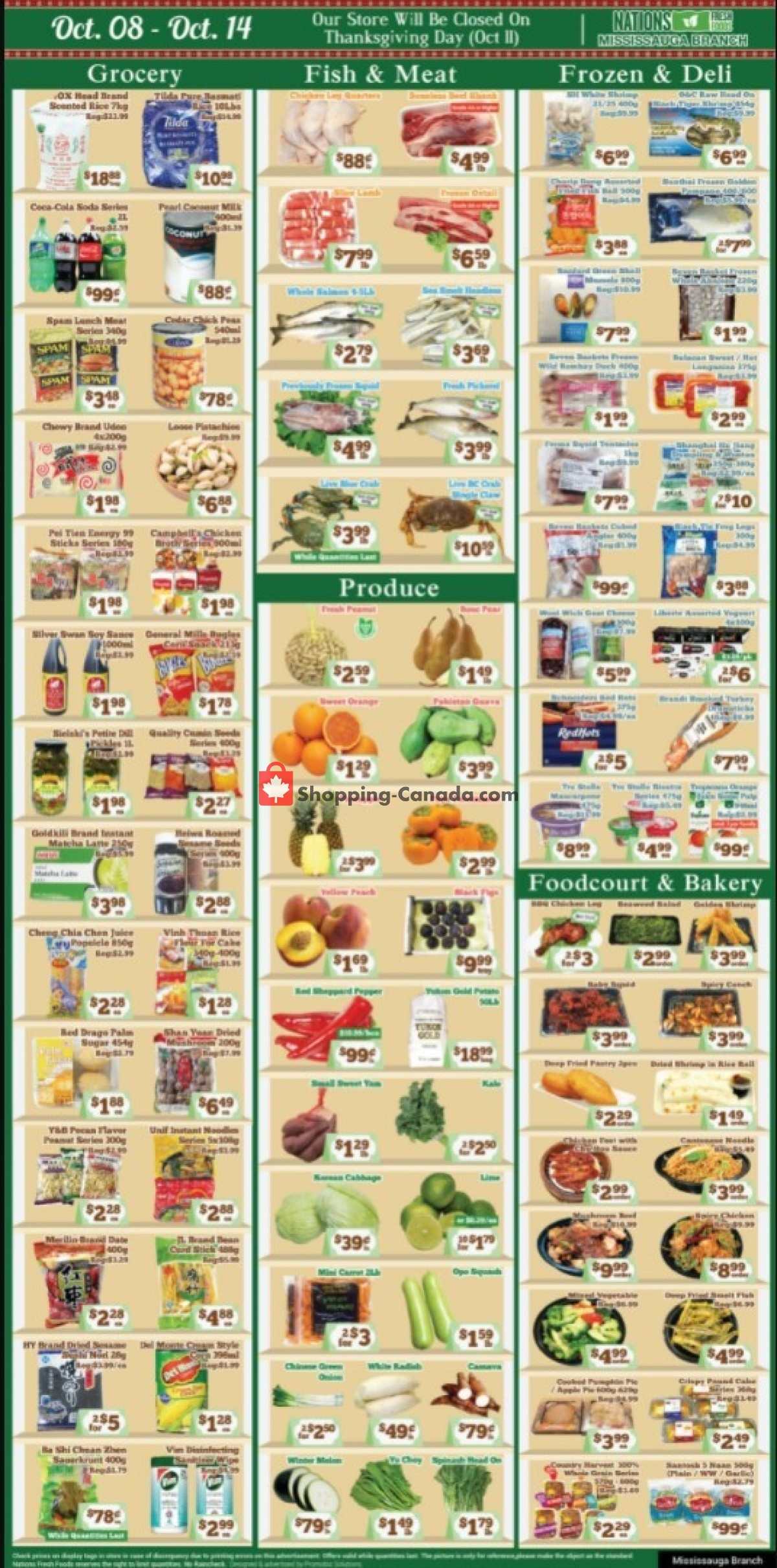 Flyer Nations Fresh Foods Canada - from Friday October 8, 2021 to Thursday October 14, 2021