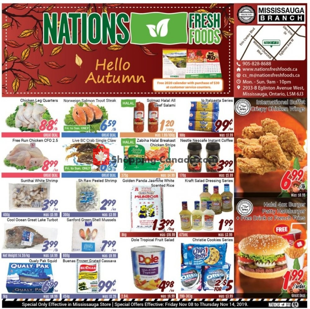 Flyer Nations Fresh Foods Canada - from Friday November 8, 2019 to Thursday November 14, 2019