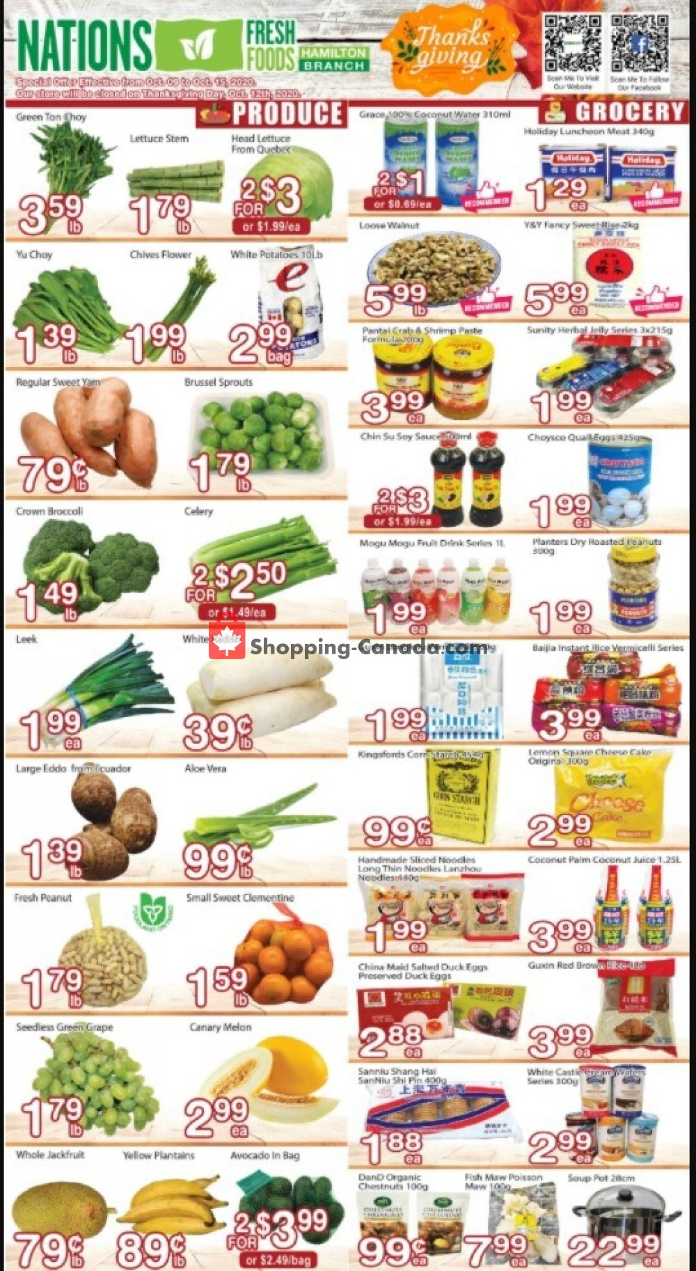 Flyer Nations Fresh Foods Canada - from Friday October 9, 2020 to Thursday October 15, 2020
