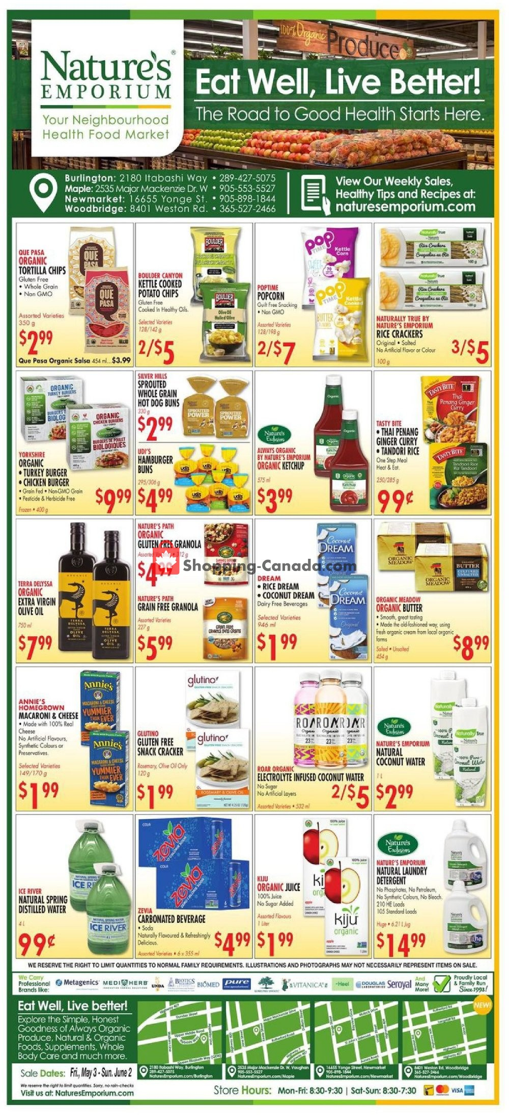 Flyer Nature's Emporium Canada - from Friday May 3, 2019 to Sunday June 2, 2019