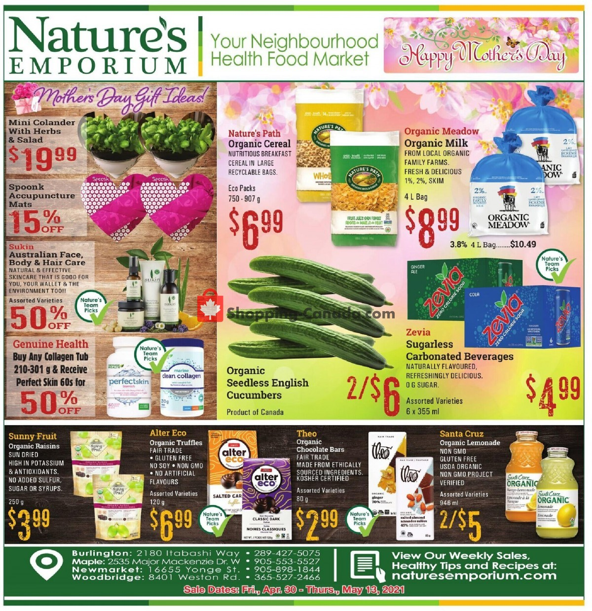 Flyer Nature's Emporium Canada - from Friday April 30, 2021 to Thursday May 13, 2021