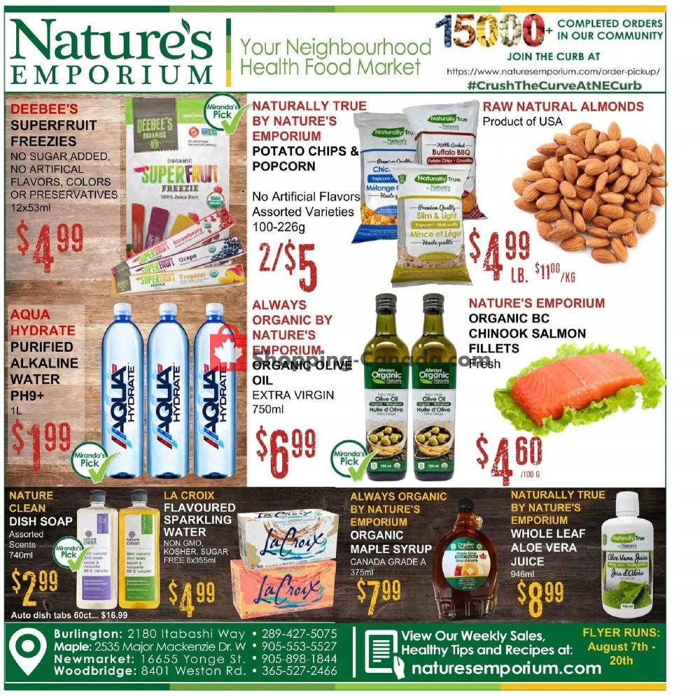Flyer Nature's Emporium Canada - from Friday August 7, 2020 to Thursday August 20, 2020
