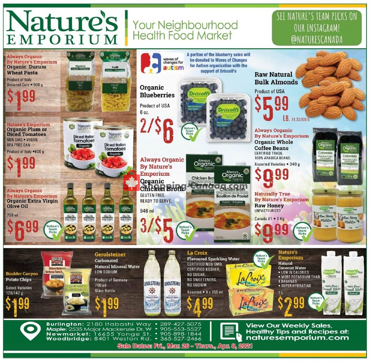 Flyer Nature's Emporium Canada - from Friday March 26, 2021 to Thursday April 8, 2021