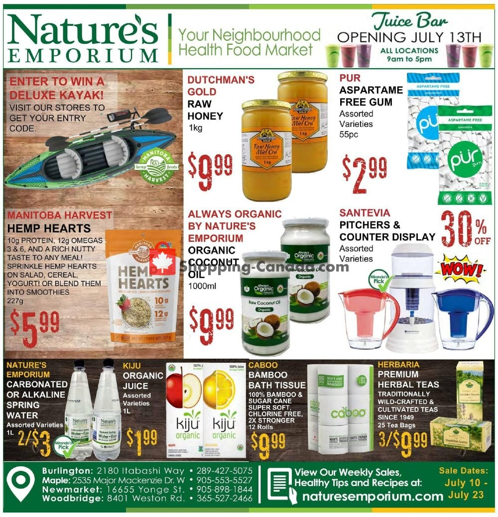 Flyer Nature's Emporium Canada - from Friday July 10, 2020 to Thursday July 23, 2020