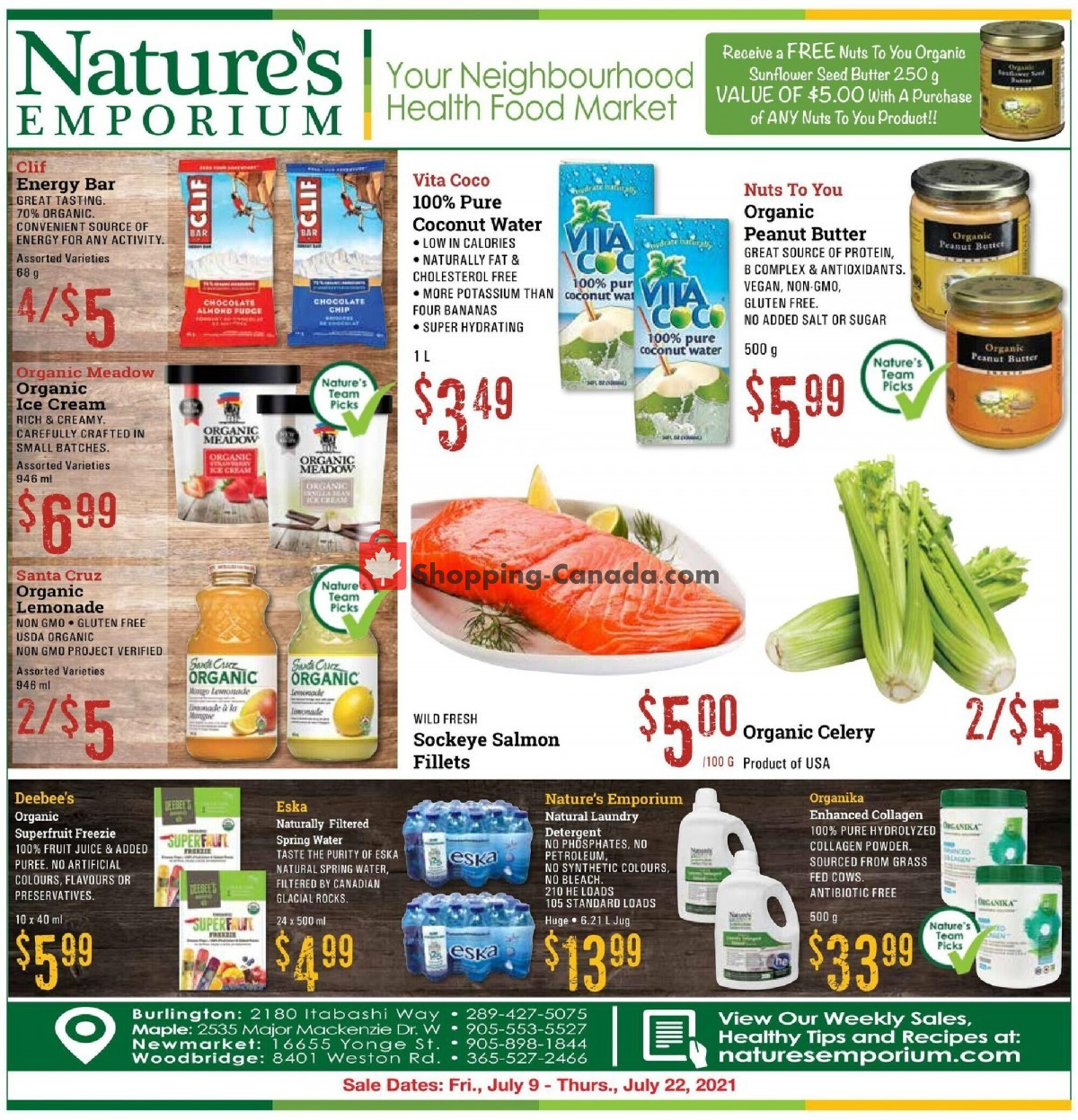 Flyer Nature's Emporium Canada - from Friday July 9, 2021 to Thursday July 22, 2021