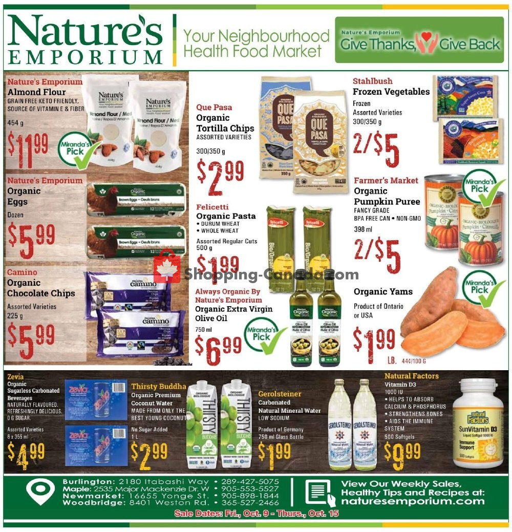 Flyer Nature's Emporium Canada - from Friday October 9, 2020 to Thursday October 15, 2020
