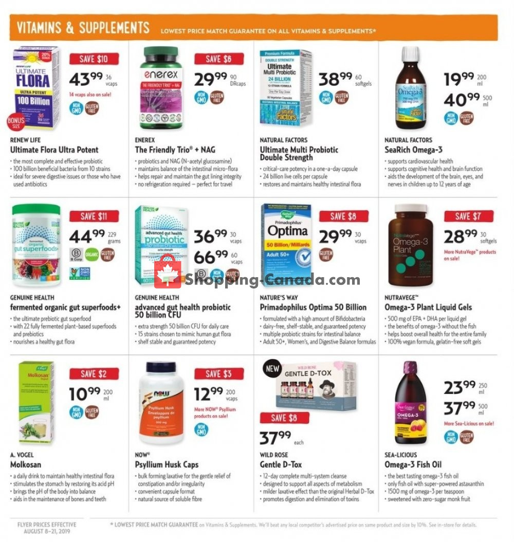 Flyer Nature's Fare Markets Canada - from Thursday August 8, 2019 to Wednesday August 21, 2019