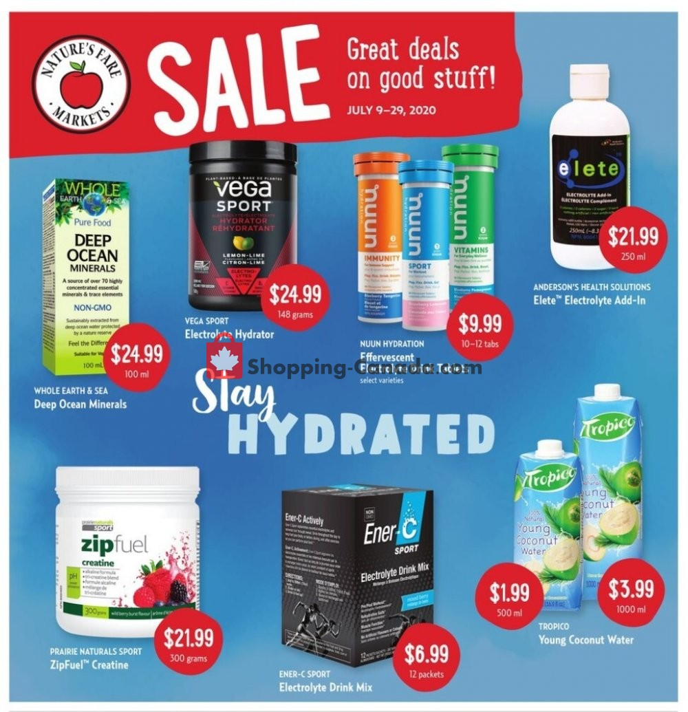 Flyer Nature's Fare Markets Canada - from Thursday July 9, 2020 to Wednesday July 29, 2020