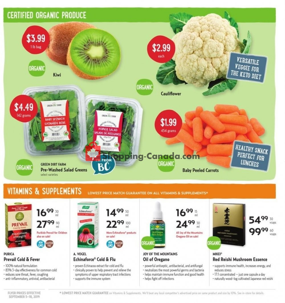 Flyer Nature's Fare Markets Canada - from Thursday September 5, 2019 to Wednesday September 18, 2019