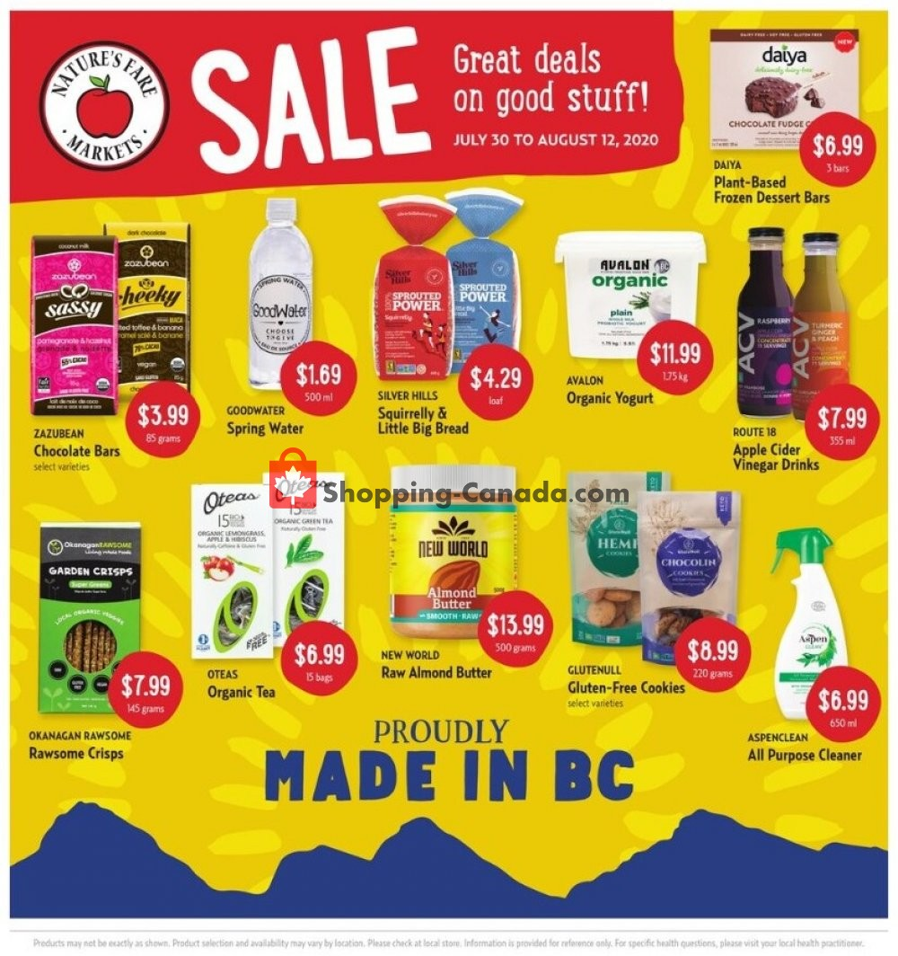 Flyer Nature's Fare Markets Canada - from Thursday July 30, 2020 to Wednesday August 12, 2020